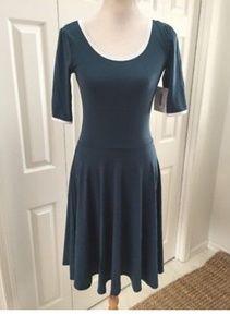 LuLaroe Nicole Ringer Dress blue w/white